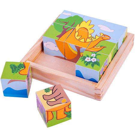 Picture of Wooden Dinosaur Cube Puzzle