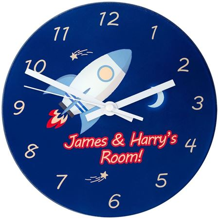 Picture of Rocket To The Moon - Personalised Wall Clock