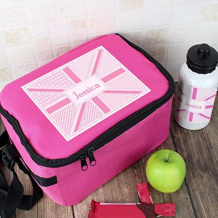 Picture of Lunch Bag & Bottle Set - Pink Patchwork Union Jack