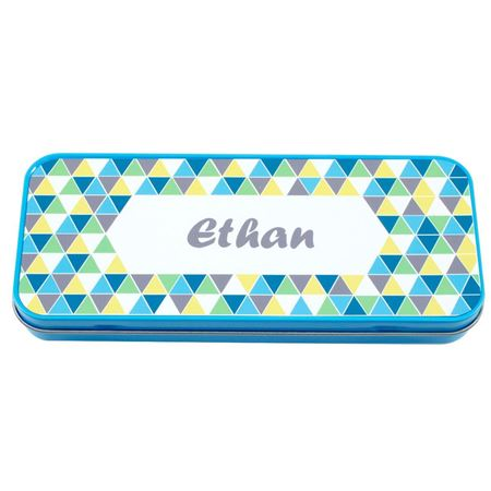 Picture of Named Pencil Tin - Blue Geo