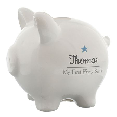 Picture of Personalised Blue Star Piggy Bank
